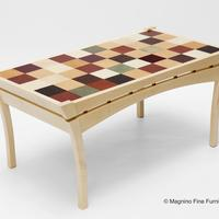 Coffee Table in English Sycamore and Leather