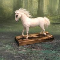 White Arab Horse. Needle felted sculpture over wire armature.