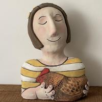 Chick - earthenware, mixed media