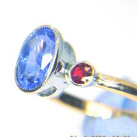 Hand Crafted 18ct Rose Gold and Platinum Certified Untreated 3.22ct Sapphire and Rubies Ring