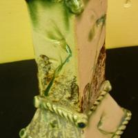 Porcelain slab vase, impressed with real snowdrops decorated in copper glaze and oxide.