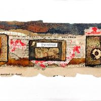 The Retreat - mixed media collage on canvas