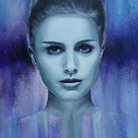 Natalie Portman abstract, Mixed media on box canvas, 50cm x 76cm. Price £300