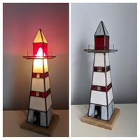 Lighthouse made from multiple coloured Opal glass.