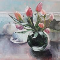 Tulips in Vase, Oil painting on oil paper