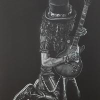 Slash - Prismacolor pencils on black paper