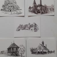 Postcards. Ink drawings