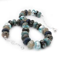 'Siva' Necklace - another colour palette necklace, with soft neturals and petrol to duck egg blues.