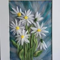 White daisies made with merino wool