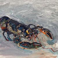 Oil Painting of a Blue Lobster from Risk Stein's Padstow.  Oil Painting on Board. 60cm x 80 cm