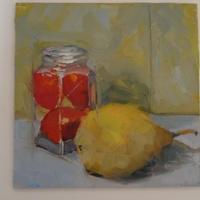 """Pear and peppers. Oil on board  6x6"""""""