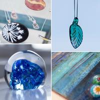 A collection of glass and enamelled work by Melissa Keskinkilinc