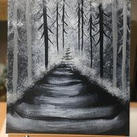 'Into the Woods' - Black and White acrylic on canvas board.