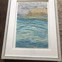 'Oh I do like to be the seaside' machine and hand embroidered framed work £150.00