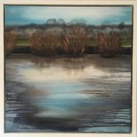 The river Leam in winter 60cms x 60 cms acrylic on canvas  £350 including white frame