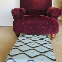 Furniture: footstool.  Designed and hand made stunning interior footstools.
