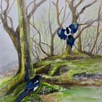 """One for sorrow, Two for joy""  Mixed media 20 "" x18"""
