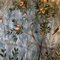 Hand painted fabric commission for Anne Haimes Interiors, Henley on Thames