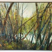 Newbold Pond. 75cms x 40cms. £350 including white frame