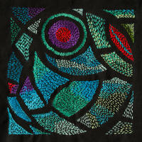 Stained glass window. 2018. Embroidery silks on black cotton background. 28 cm by 28 cm [framed].