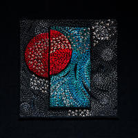 Red moon.2019. Embroidery silks on black cotton background. 28 cm by 28 cm [unframed]
