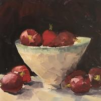 """Bowl of radishes. Oil on board 6x6"""""""
