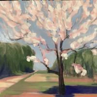 Edge of the orchard 1 - oil on wooden board