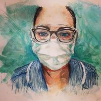 Portrait paintings of NHS workers mixed media on paper