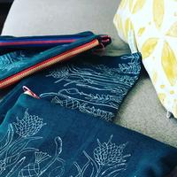 Screen Printed cosmetic pouches at maple Barn Studio
