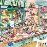 'The Crafting Shed',  Free motion machine stitched, measuring 33cms x 30cms.