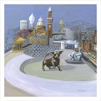 """Acrylic, 24''x 24"""". I've included images that represent Birmingham's importance as Britain's second city and a main driver of the country's manufacturing industry since the late 18th century."""