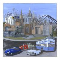 """Acrylic, 24""""x 24"""". I have included many images that describe a city that was central to the growth of Britain's automotive industry. Coventry suffered terrible bombing in the second world war and rapid decline in its main industries in the 1970s and 80s but it has shown great resilience and new enterprise."""