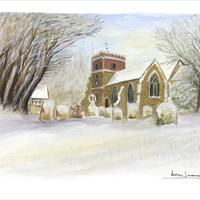 Water colour, 28cmx 38cm. Village church in snow, January 2018. Original no longer available.