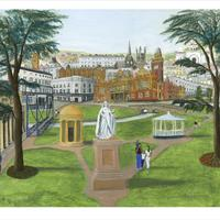"""Acrylic 30''x 24"""". This picture aims to capture some of the Victorian elegance of Leamington Spa with its unique blend of classical and neo-Gothic buildings and parks. The cyclist is the Italian art historian Francesco da Mosto who I thought might enjoy a visit to Leamington. He also appears in my painting of Burano and we might find him in future paintings."""