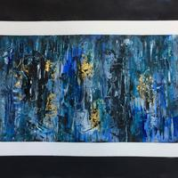 All The Blues 25cms x 35cms acrylic on paper with gold leaf