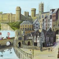 """Acrylic, 30""""x 24"""" . My Warwick picture includes, of course, the town's famous castle and many of the delightful buildings and scenes that have made Warwick into a great tourist attraction and place to live and work (as I did for many years). Original no longer available."""