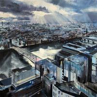Sun over South London from the Skygarden, oil on canvas. 1m x 1m