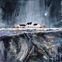 Original painting-Moonlight Ridge Farm. Framed in triple white moulding with art glass 52cm x 52cm. £495.00