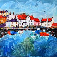 Original painting-Pittenweem Harbour. Framed in triple white moulding with art glass 48cm x 48cm. £395.00