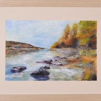 Acrylic and texture, framed behind glass. Inspired by a beautiful autumn day on the Shores of Lake Coniston. 57x47cm £210