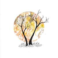 Autumn Moon Greetings card 15cms square - printed from original artwork
