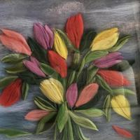 Tulips painted with merino wool
