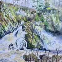 "Conwy Falls Mixed media 14"" x 18"""