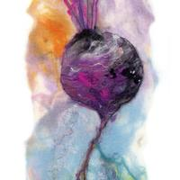 Sweet Beet. Felt work with stitch detail. Available as a limited edition print. Image size approx 29cm x 62cm. £64.00 inc postage and packing.