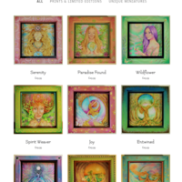 I have reproduced several of my fantasy prtraits and botanicals as mini prints which I have shadow-box mounted in hand painted frames. Each print is uniquely hand embellished and each frame painted one of a kind.