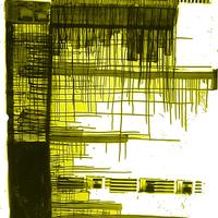 Data Graphic #2, screen print and poured ink.