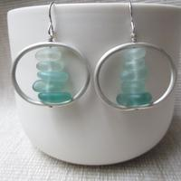 Sterling silver and aqua seaglass earrings