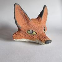 Small Fox mask; white stoneware, coloured slips and oxides, wire