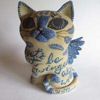 Poet's Cat ~ stoneware with coloured slips and oxides