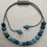 Blue beads with adjustable slipknot